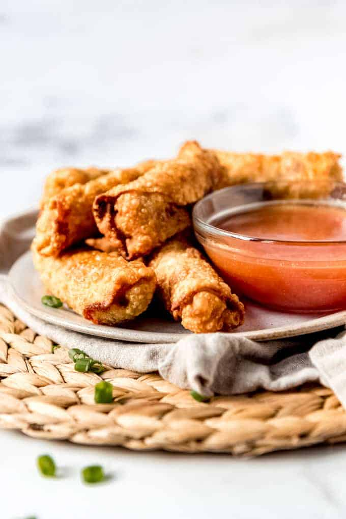 An image of a plate of homemade egg rolls.