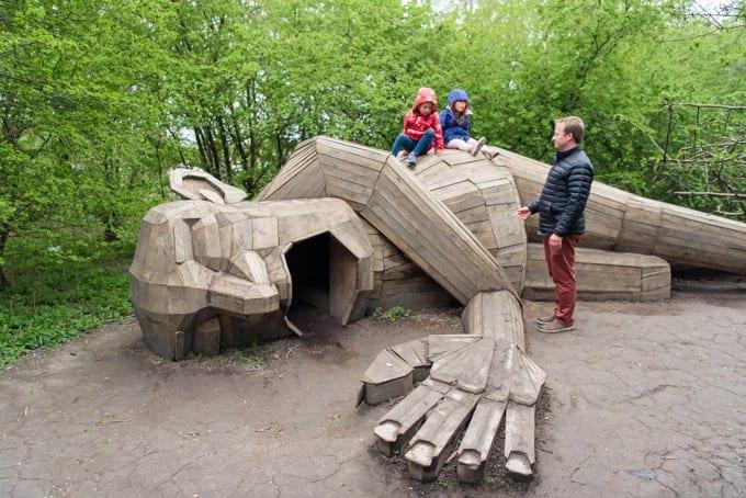 Thomas Dambo sculptures in Denmark.