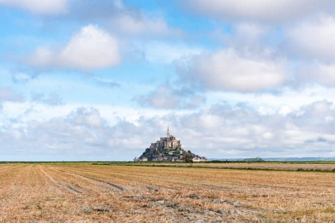 An image of Mont Saint-Michel on a bright sunny day.