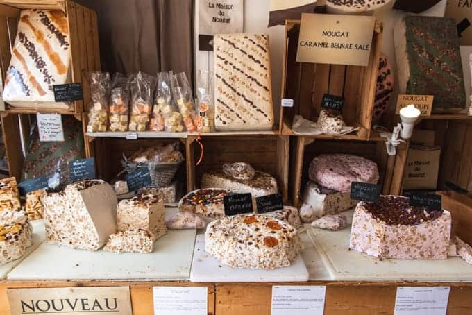 An image of nougat in a candy shop in Honfleur, France.