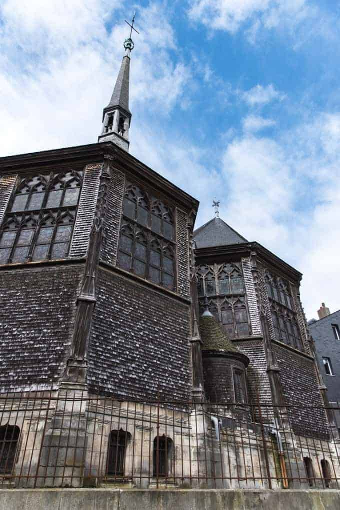 An image of the Saint Catherine cathedral in Honfleur, France.