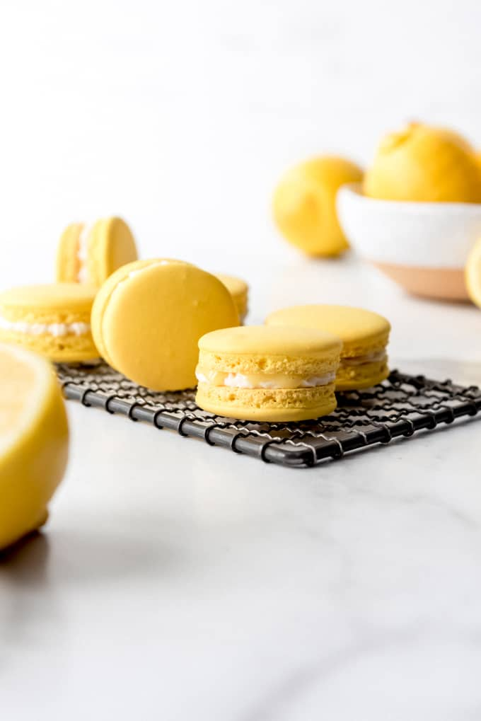 An image of a homemade lemon macarons with lemon curd.