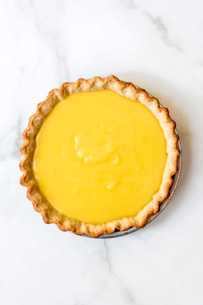 lemon filling in a baked pie shell