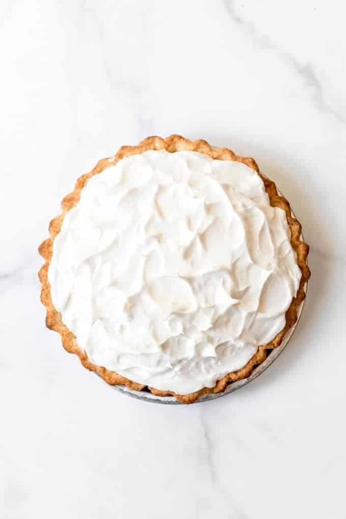 Meringue topped lemon pie