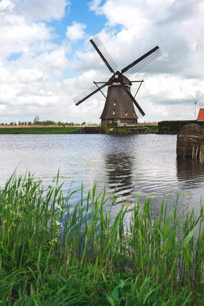 An image of an old windmill at Kinderdijk.