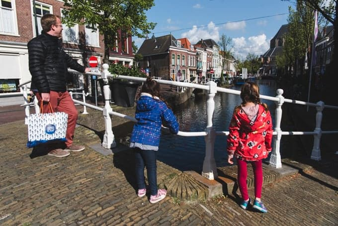 An image of a family looking at canals in the Netherlands.