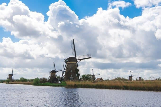 An image of the windmills at the UNESCO World Heritage Site of Kinderdijk.