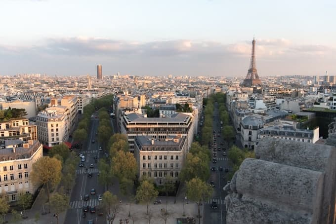 An image of the Eiffel Tower from the top of the Arc de Triomphe.
