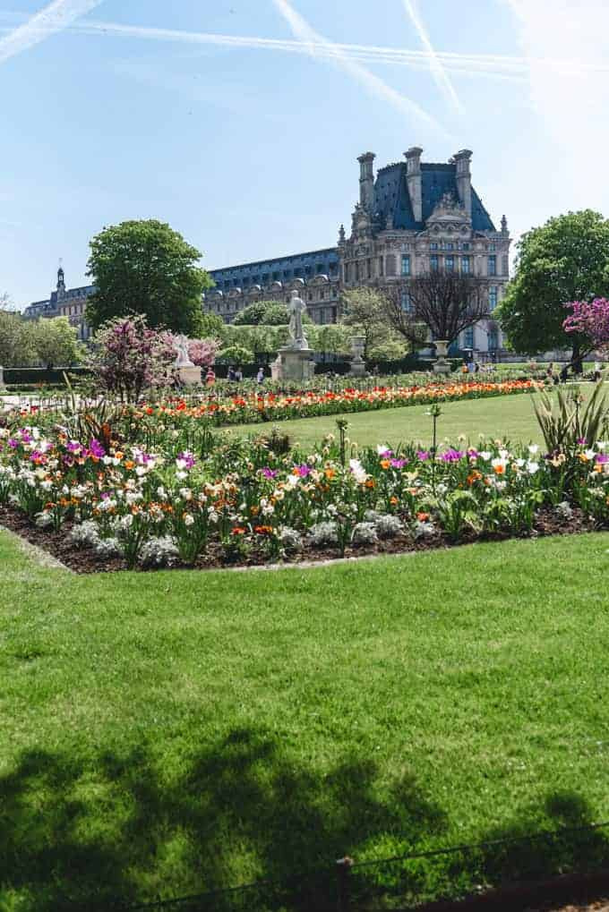An image of flower beds in the Tuileries Gardens in Paris.