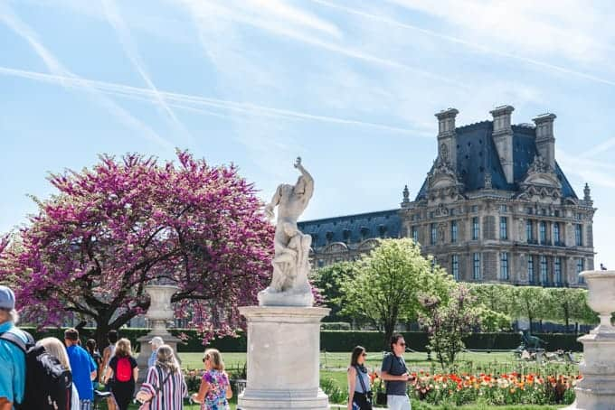An image of statues and blossoms in the Tuileries Garden in Paris.