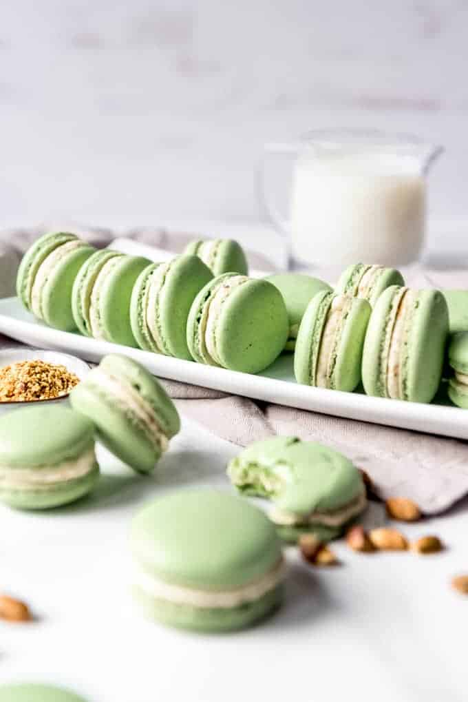 An image of French macarons on a plate.