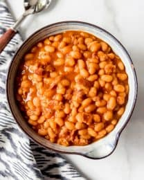 An image of a bowl of homemade pork and beans.