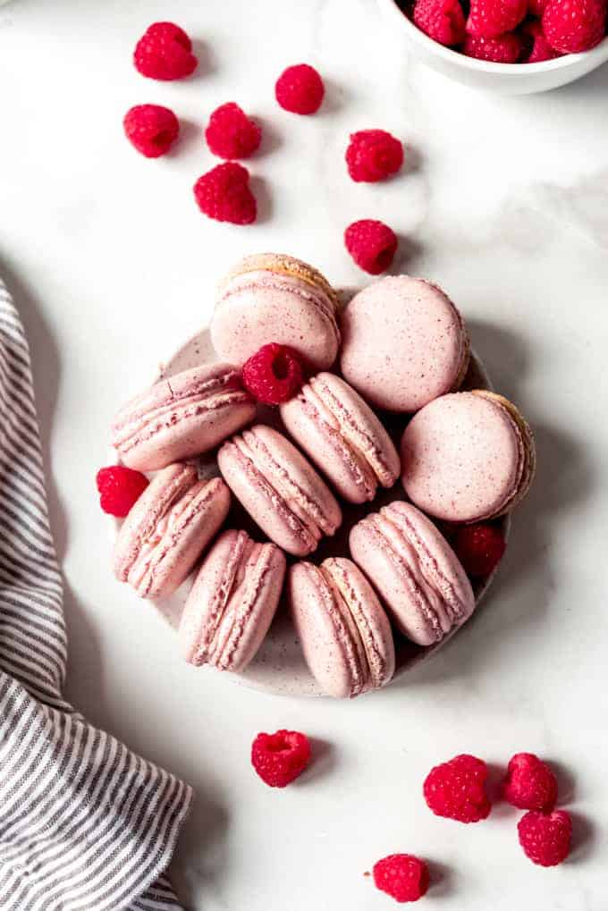 An image of homemade raspberry macarons arranged on a plate with fresh raspberries around them.