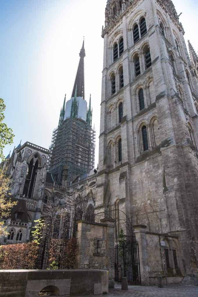 An image of towers of a cathedral in France.
