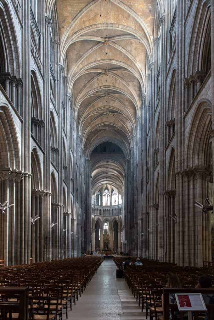 An image of the interior of a cathedral in Rouen, France.