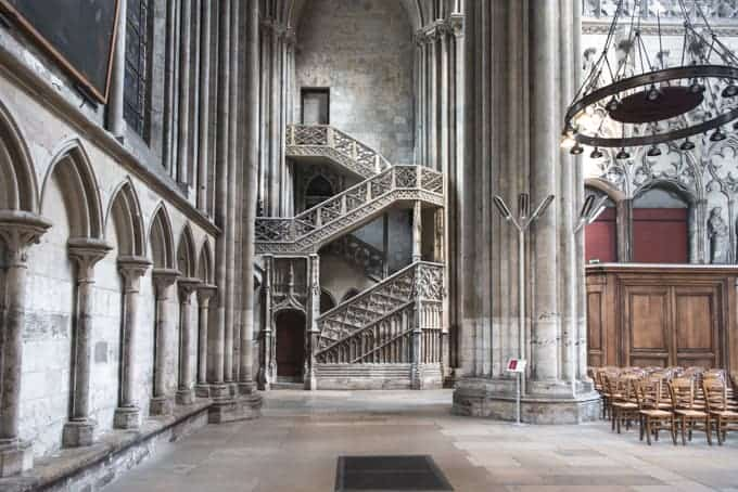 An image of a staircase in a cathedral in Rouen, France.