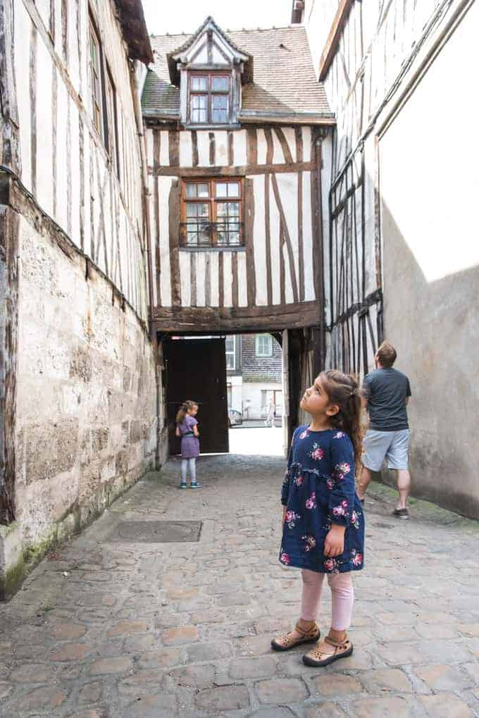 An image of half-timbered houses in Rouen, France.