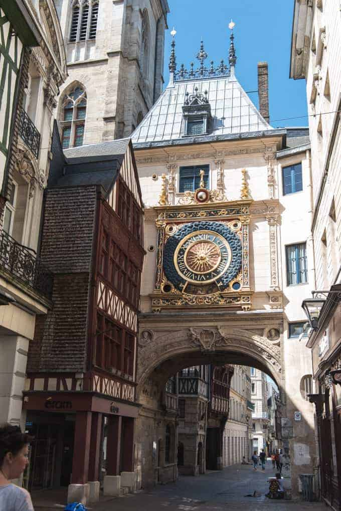 An image of the historic clock tower in Rouen, France.