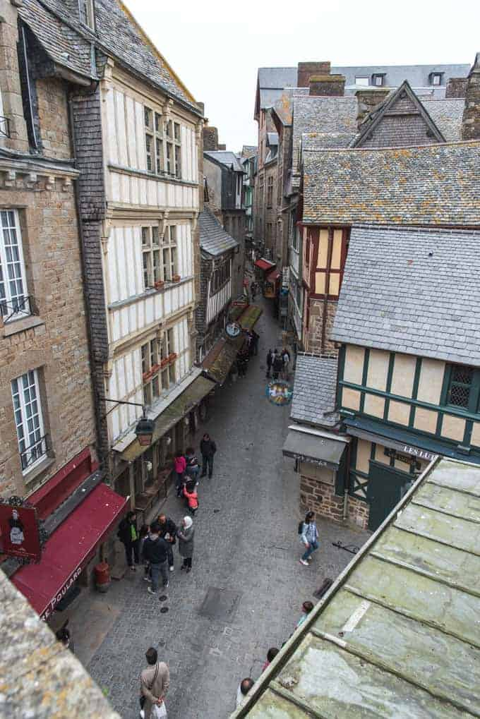 An image of the narrow streets in Mont Saint-Michel in France.