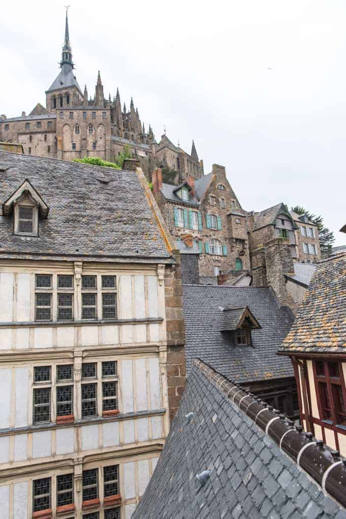 An image of rooftops in Mont Saint-Michel in France.