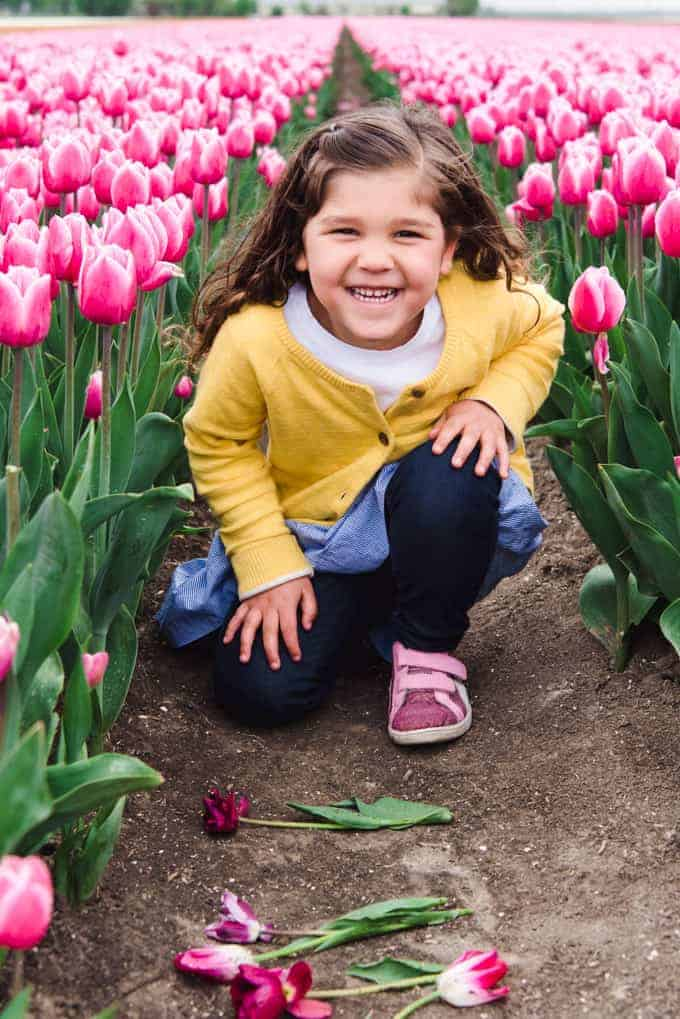 An image of a young girl in a tulip field.