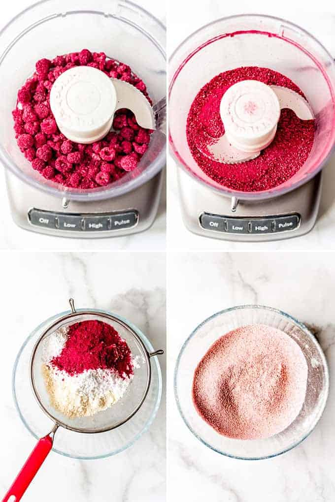 A collage of images showing how to process freeze-dried raspberries into a powder, then sifting it with almond flour for macarons.