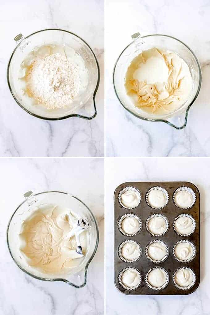 A collage of images showing how to make white cupcakes from scratch.