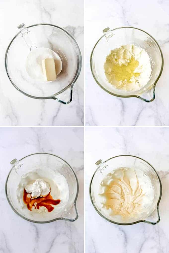A collage of images showing how to make vanilla cupcakes from scratch.