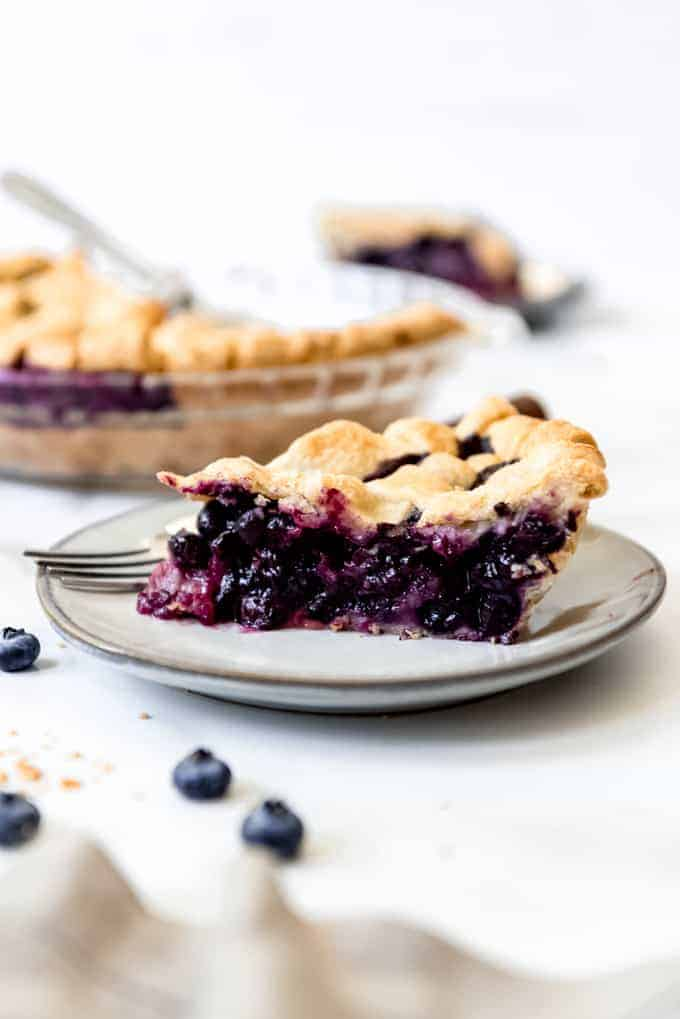 A slice of fresh blueberry pie on a plate.