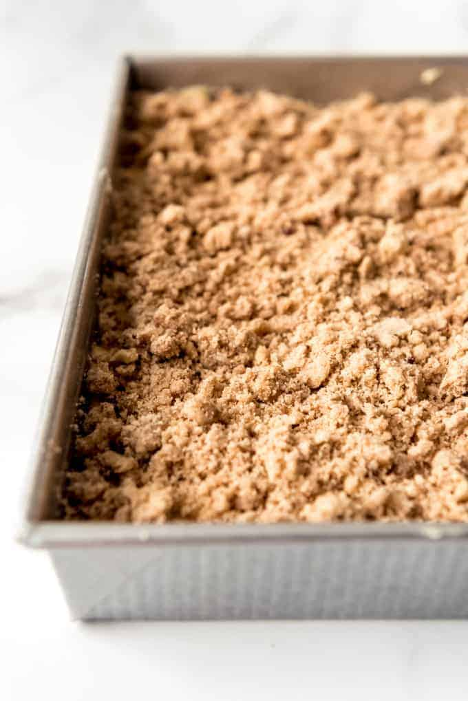 An image of a cinnamon coffee  cake in a 9x13-inch pan.