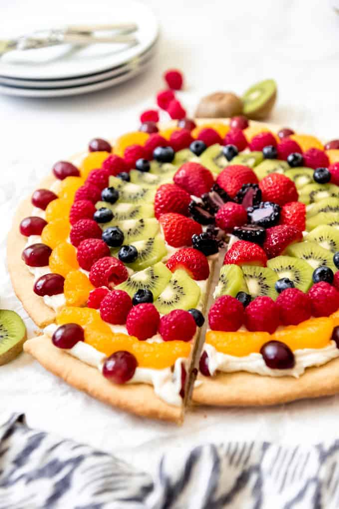 An image of a sugar cookie fruit pizza dessert.