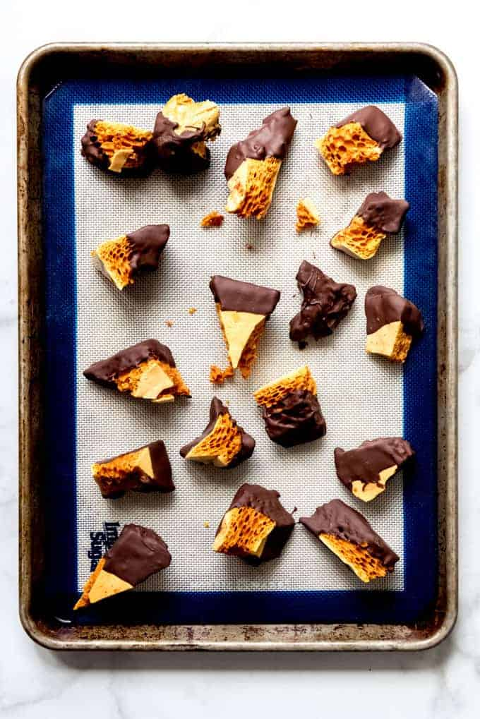 An image of chocolate-dipped honeycomb candy pieces.