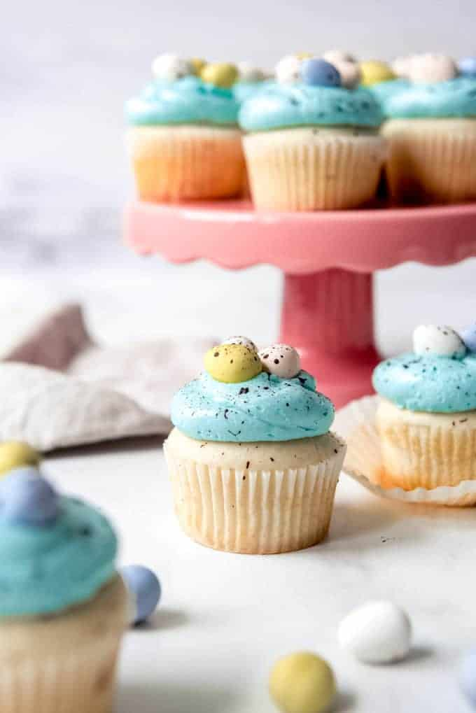 An image of robin's egg easter cupcakes with homemade blue frosting and Cadbury eggs for decoration.