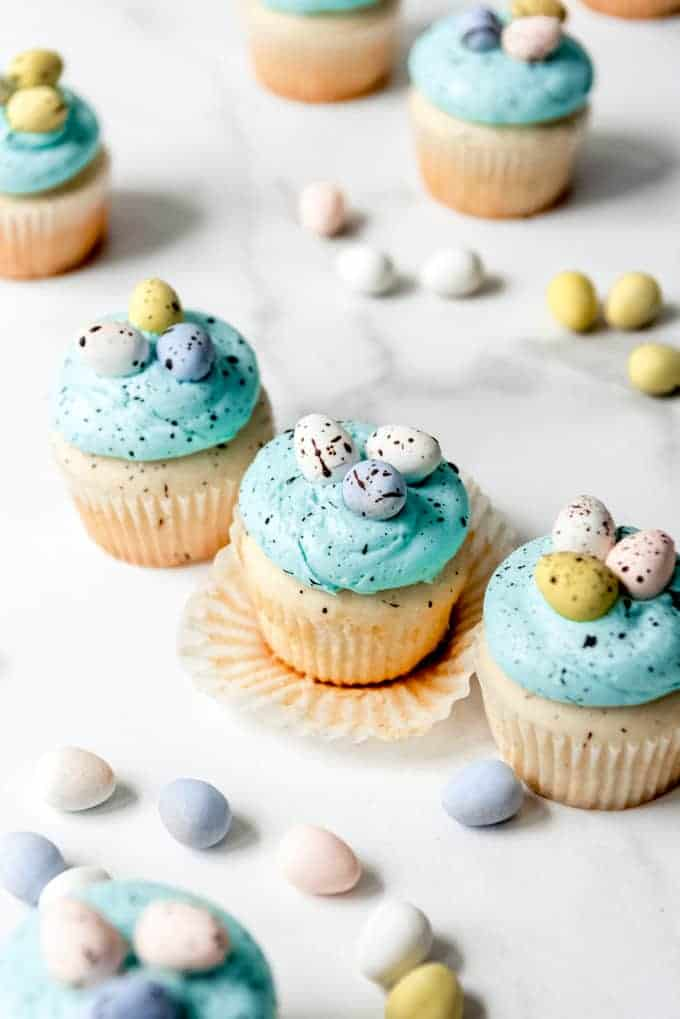 An image of white cupcakes with blue frosting, chocolate Easter egg candies, and cocoa speckles.