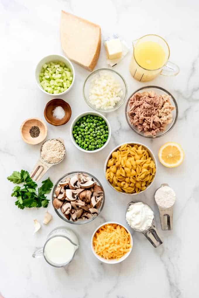 An image of the ingredients for tuna noodle casserole made from scratch.