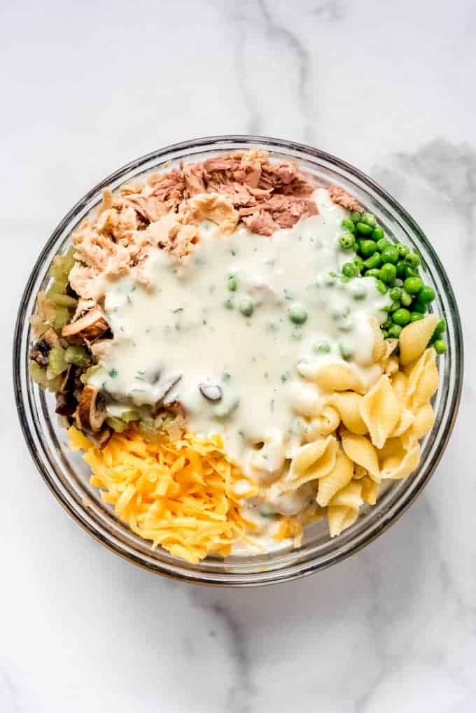An image of the ingredients for tuna noodle casserole in a bowl.
