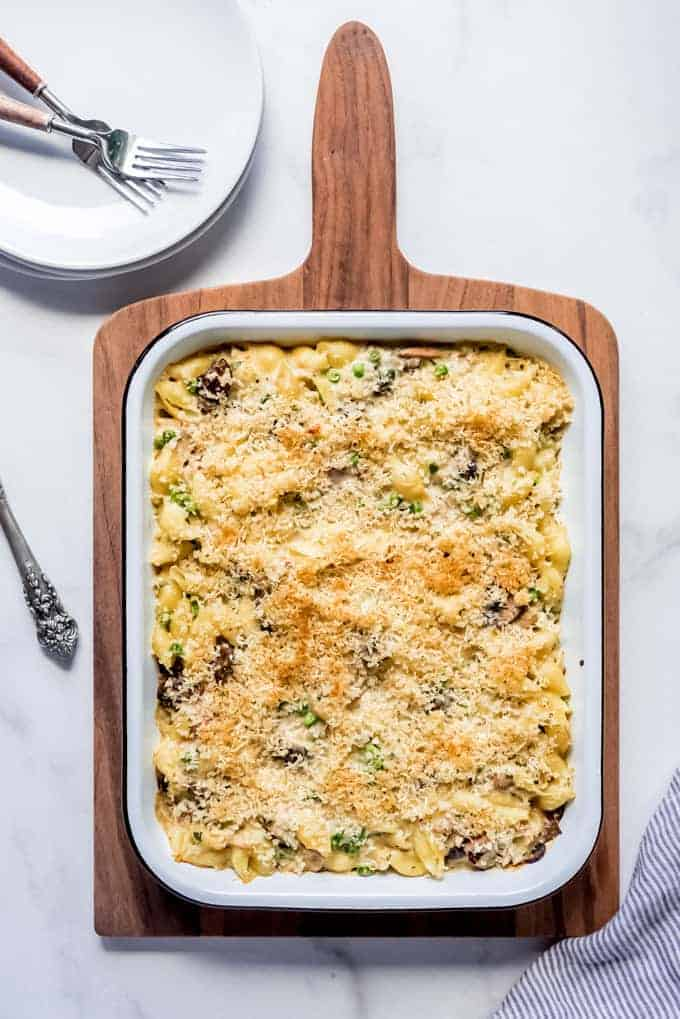 An image of a baked tuna noodle casserole in a baking dish.