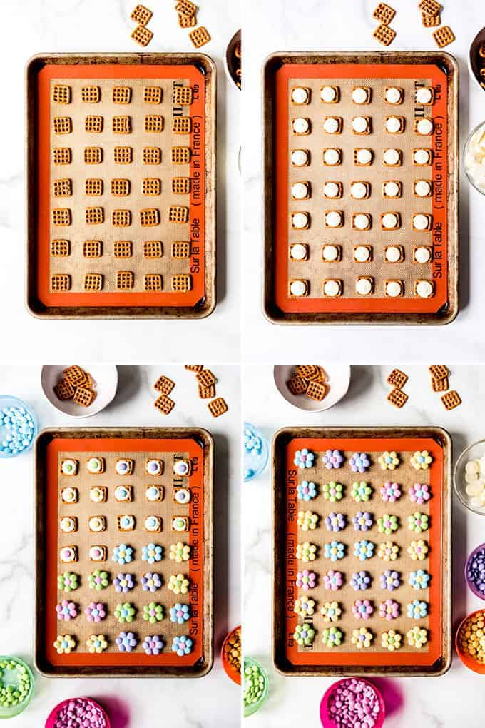 A collage of images showing how to make M&M Spring flower pretzel bites.