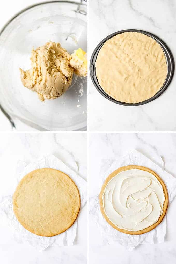 A collage of images showing how to press sugar cookie dough into a pizza pan.