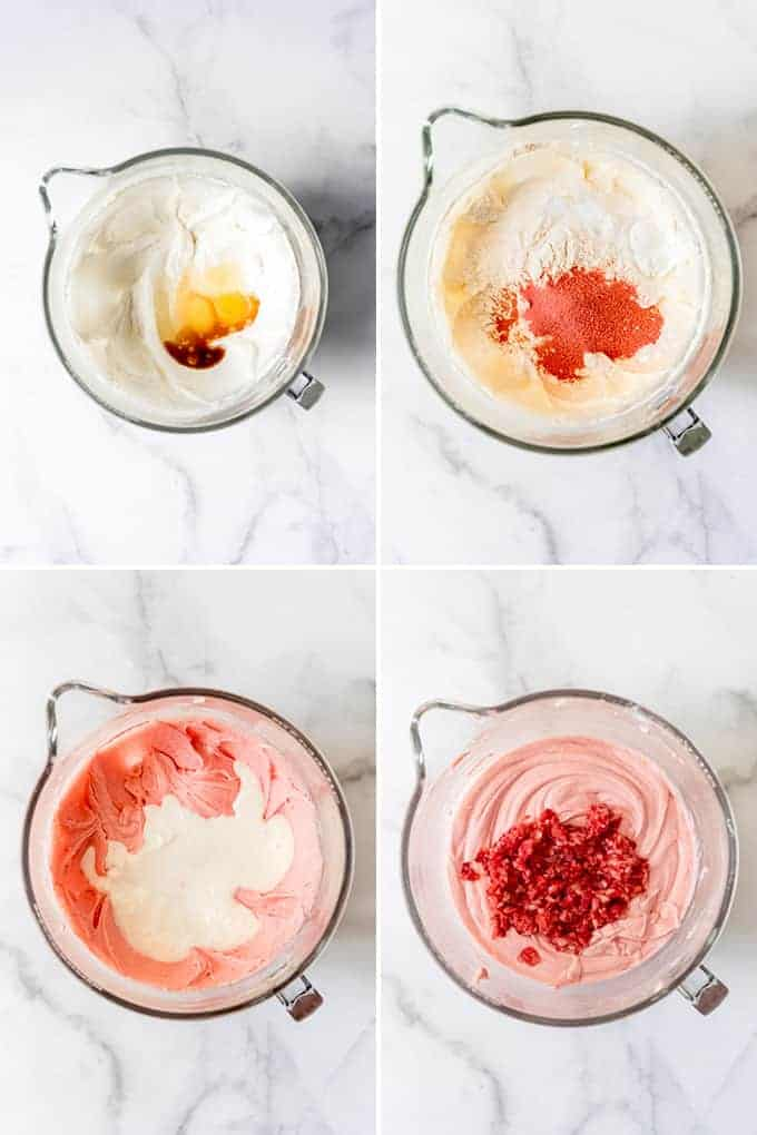 A collage of images showing how to make strawberry sheet cake.