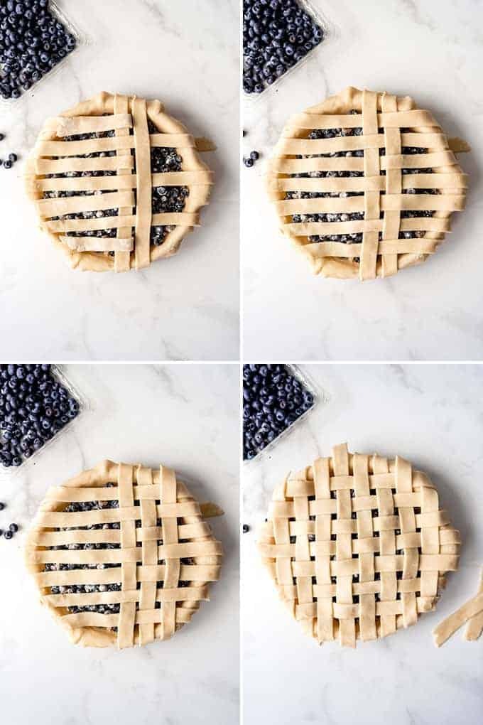 Step-by-step images showing how to make a lattice pie crust.