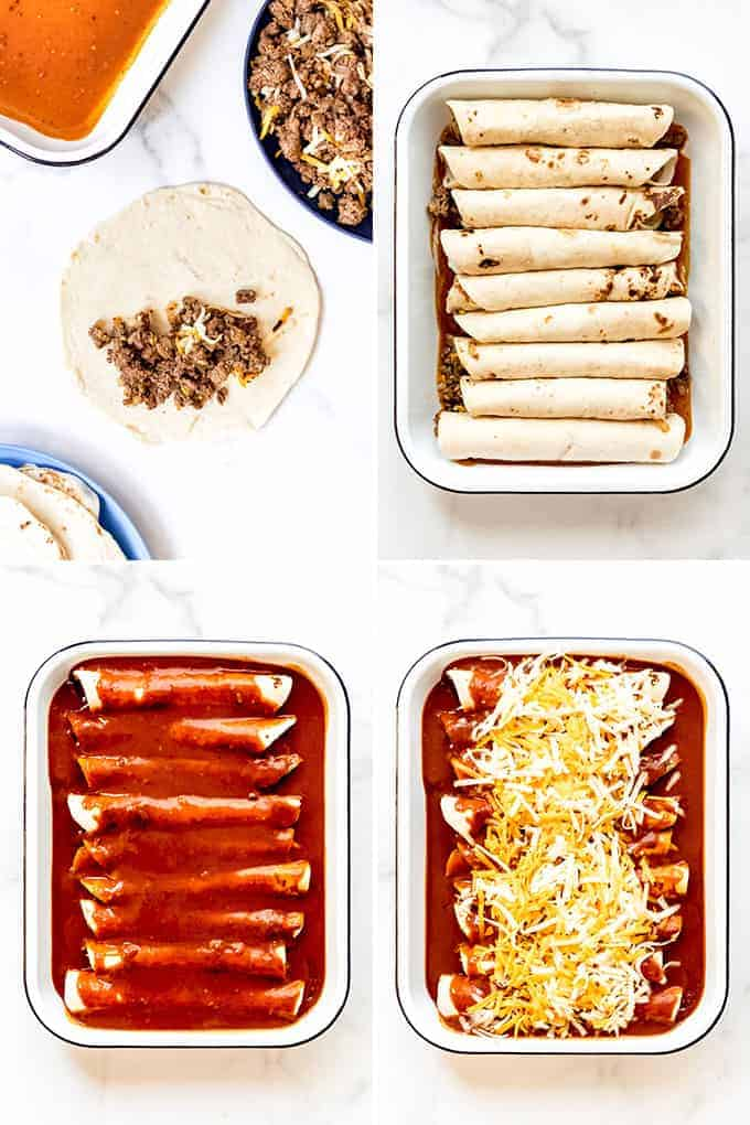 A collage showing how to make enchiladas by filling flour tortillas with ground beef, rolling them and placing in a baking dish, topping with enchilada sauce and cheese.