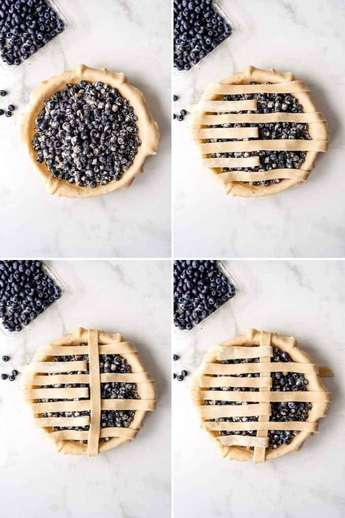 A collage of images showing how to make a lattice crust on a blueberry pie.