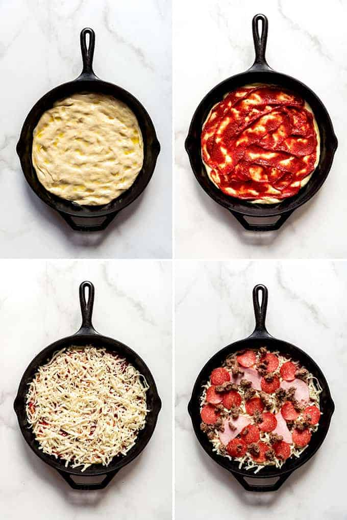 Four images showing how pizza dough is pressed into a cast iron pan, then topped with sauce, then cheese, then meat.