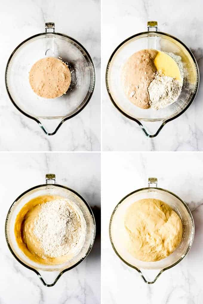 A collage of images showing how to make sweet roll dough.