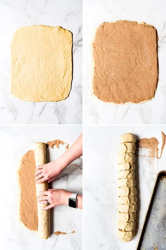 A collage of images showing how to make and shape cinnamon rolls.