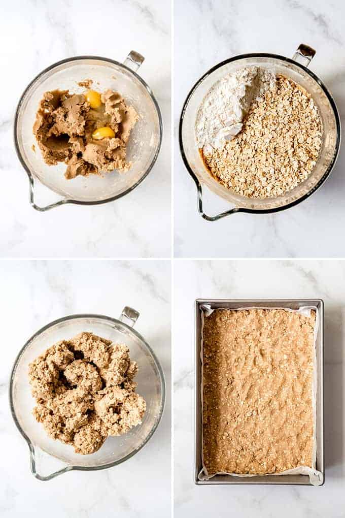 A collage of images showing how to make oatmeal cookie dough.