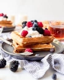 An image of homemade buttermilk sourdough overnight waffles.