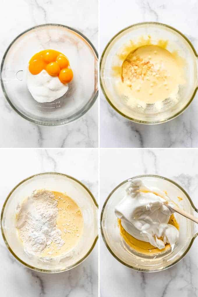 a collage of images showing eggs being added to sugar and stiff beaten egg whites being folded in