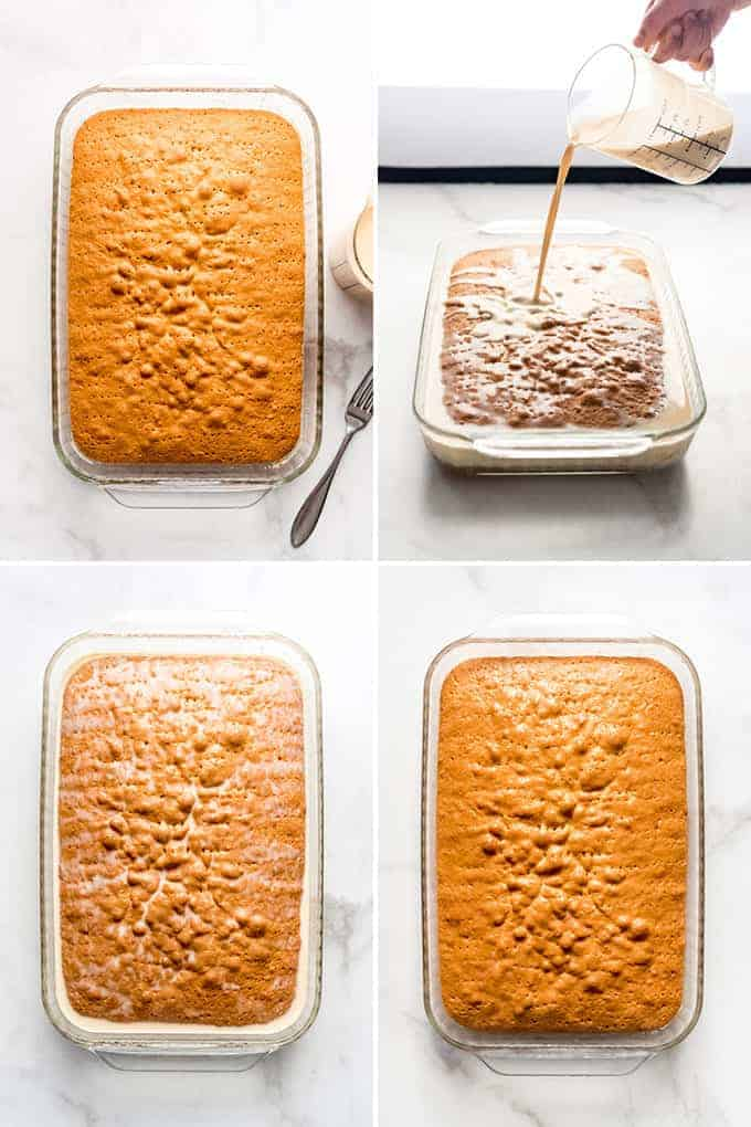 a collage of images showing baked cake and the milk mix being poured over the top for the cake to soak it in and cool
